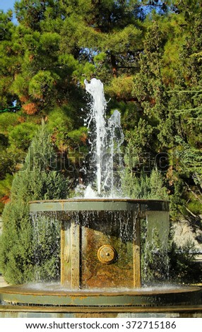 Splashes of fountain water against the tree - stock photo