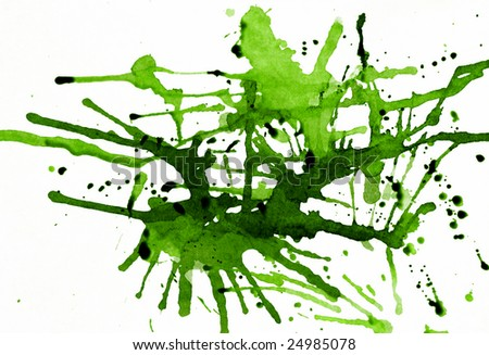 Splashes of green ink on white - short depth of field. - stock photo