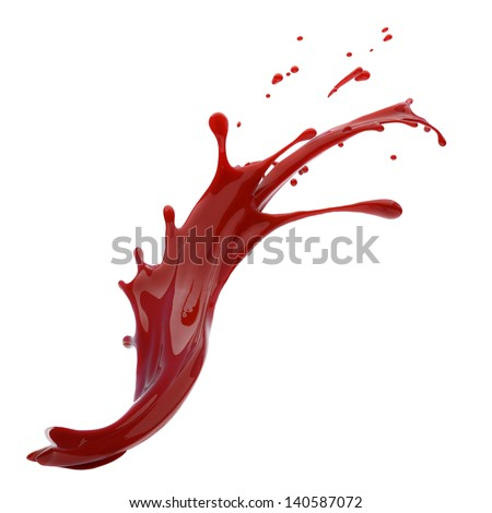 splashes of red liquid isolated on white background template - stock photo