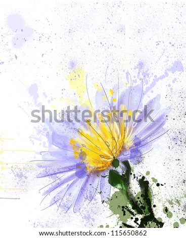 splashes of summer. watercolor - stock photo