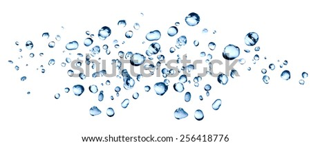 Splashes on white. Background made from lot of blue water drops - stock photo