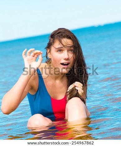 Splashing Beauty Summer Joy  - stock photo
