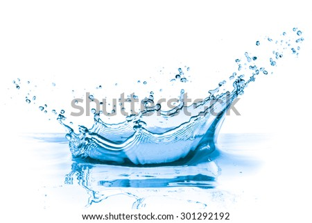 splashing blue water on white background - stock photo