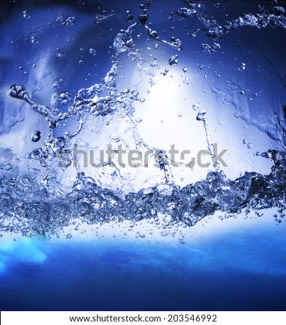 splashing blue water use as nature background ,backdrop and natural textured for display product - stock photo