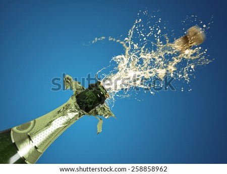 splashing champagne - stock photo