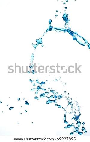 Splashing fresh blue water. Creative  aqua drop. - stock photo