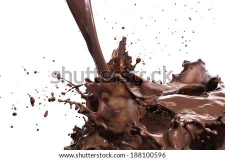 splashing hot chocolate, isolated on white background - stock photo