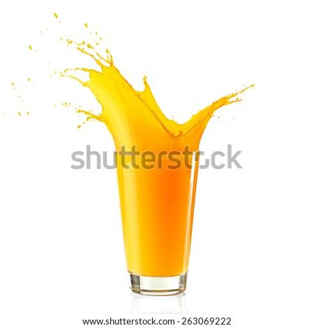 Splashing orange juice isolated on white - stock photo