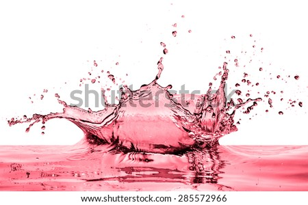 splashing red wine on white background - stock photo