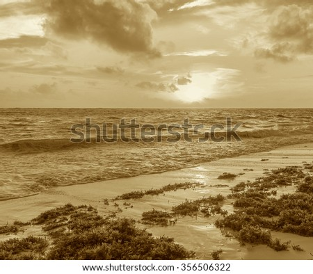 splashing waves crashing on the rocky shore at dawn sun - stock photo