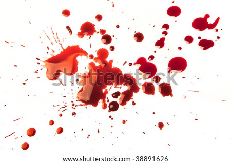 Splattered blood stains on a white background - stock photo
