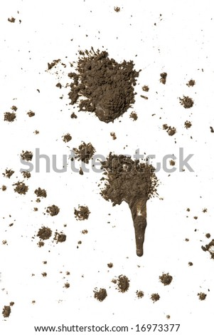 Splattered mud with drip pattern isolated on a white background - stock photo