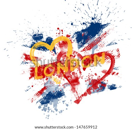 Splattered Union Jack - stock photo