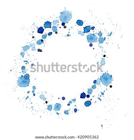 splattered watercolor circle border blue - stock photo