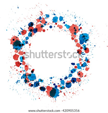 splattered watercolor circle border blue and red - stock photo