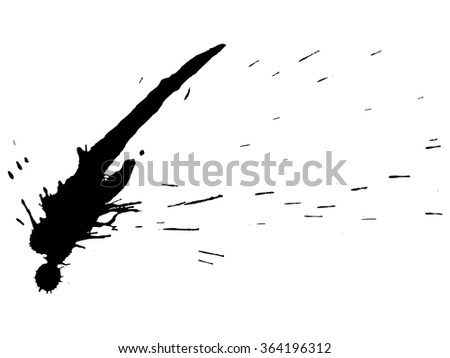 Splatters by black ink. Isolated on white background