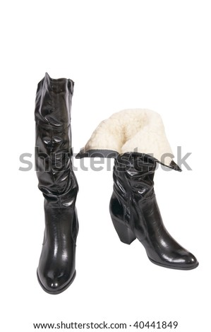 Splendid black boots isolated on a white background.