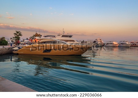 Splendid view of yachts standing in New Marina piers in Hurgada, Egypt - stock photo