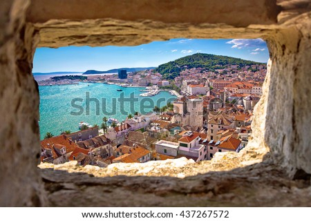 Split  bay aerial view through stone window, Dalmatia, Croatia - stock photo