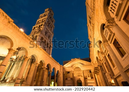 Split Cathedral and Diocletian Palace, Croatia - stock photo