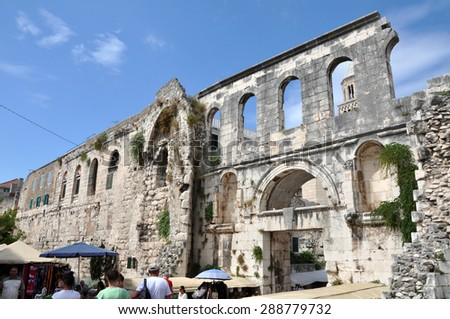 SPLIT, CROATIA - AUGUST 26: Aerial view of the Palace of the Roman Emperor Diocletian in the Unesco heritage city of Split. On 26 August, 2014 in Split, Croatia - stock photo