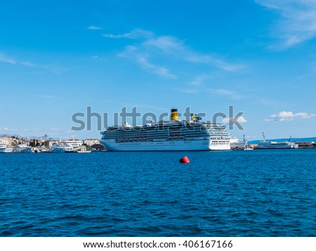 Split, Croatia - 27 March 2016 - Big cruise ship in the harbor in Split, Croatia, on a sunny day with blue sky above.