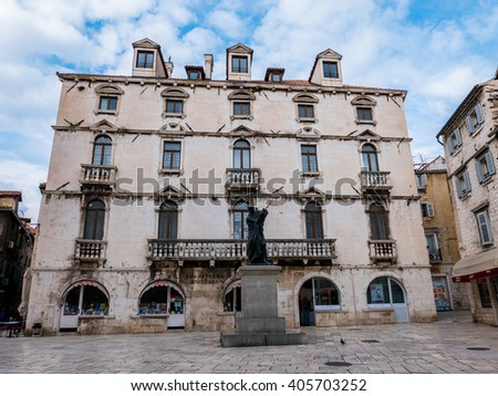 Split, Croatia - 26 March 2016 - Marulica Square in Split old town, Croatia.