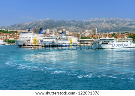 SPLIT, CROATIA - MAY 22 : View of the port on May 22, 2012 in Split.  Docked ferries in Split harbour. Split is Croatia's main tourist harbour connecting all Adriatic islands.