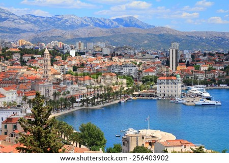 Split, Croatia (region of Dalmatia). UNESCO World Heritage Site. Mosor mountains in background. - stock photo