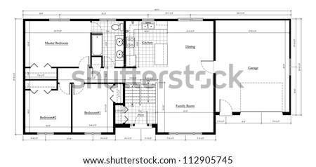 House Floor Plan With Dimensions split level house floor plan room stock illustration 112905745