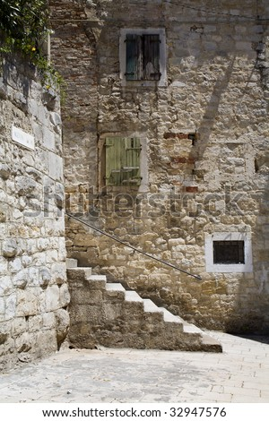 Ancient steps on wall exterior castle stock photo 59819431 for Split mediterranean house