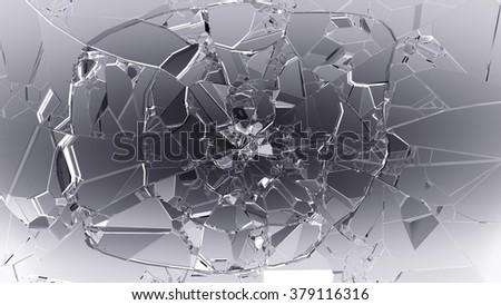 Split or cracked glass on white.