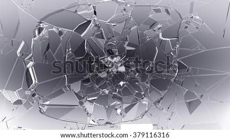 Split or cracked glass on white.  - stock photo