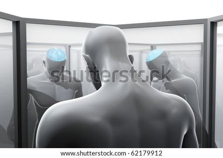 Split personality - the concept of mirror reflections - stock photo