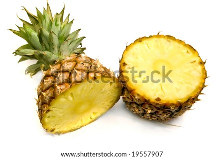 split pineapple isolated on white background