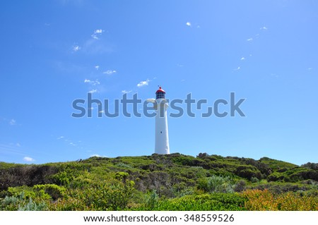 Split Point Lighthouse with blue sky located in Aireys Inlet on the Great Ocean Road, Victoria, Australia