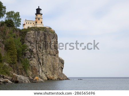 Split Rock Lighthouse, on the shores of Lake Superior.  Summer in northern Minnesota. - stock photo