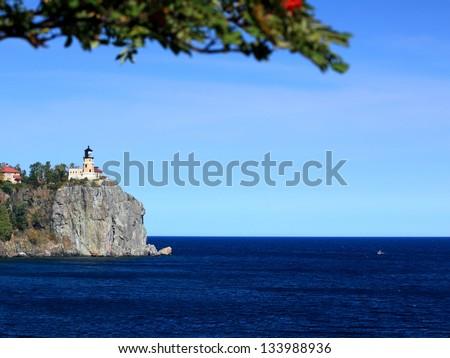 Split Rock state park on the Lake Superior north shore in Minnesota - stock photo