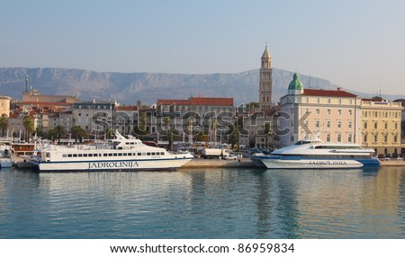 SPLIT - SEPTEMBER 24: Passenger cataraman boats in harbour on September 24, 2011 in Split, Croatia. Split is Croatia's main tourist harbour connecting all Adriatic islands.