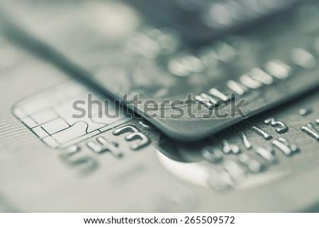 Split toned macro image of credit cards  - stock photo