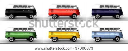 Splitscreen Classic Camping Microbus / Bus isolated on white - stock photo
