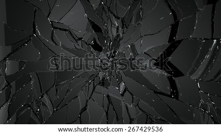 Splitted or cracked glass on black. Large resolution - stock photo