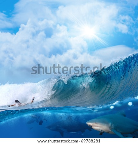 Splitted two parts image extreme story about the ocean and surfer on a surfing board breaking wave and two angry bull-sharks swiming underwater underneath him - stock photo