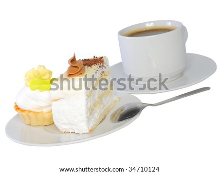 Sponge cake and  baked shell with cup of coffee. Isolated