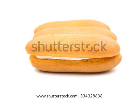 Sponge cake on a white background