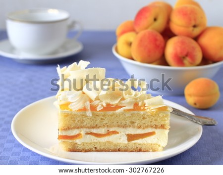 Sponge cake with yogurt mousse, apricots and white chocolate - stock photo