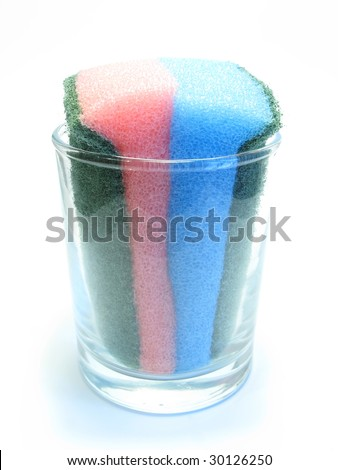 sponge for washing dishes and glasses