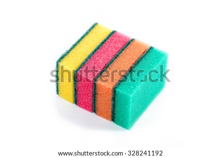 Sponge for washing dishes. Set of four pieces of different colors