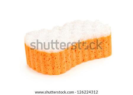 Sponge for washing. Isolated on a white background - stock photo