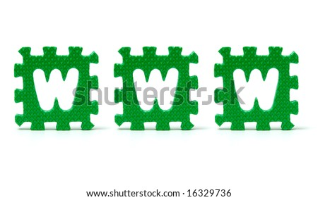 sponge letters spelling www over a white background - stock photo